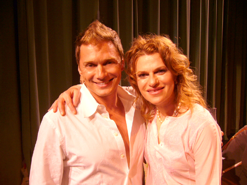 Edison Farrow and Sandra Bernhard