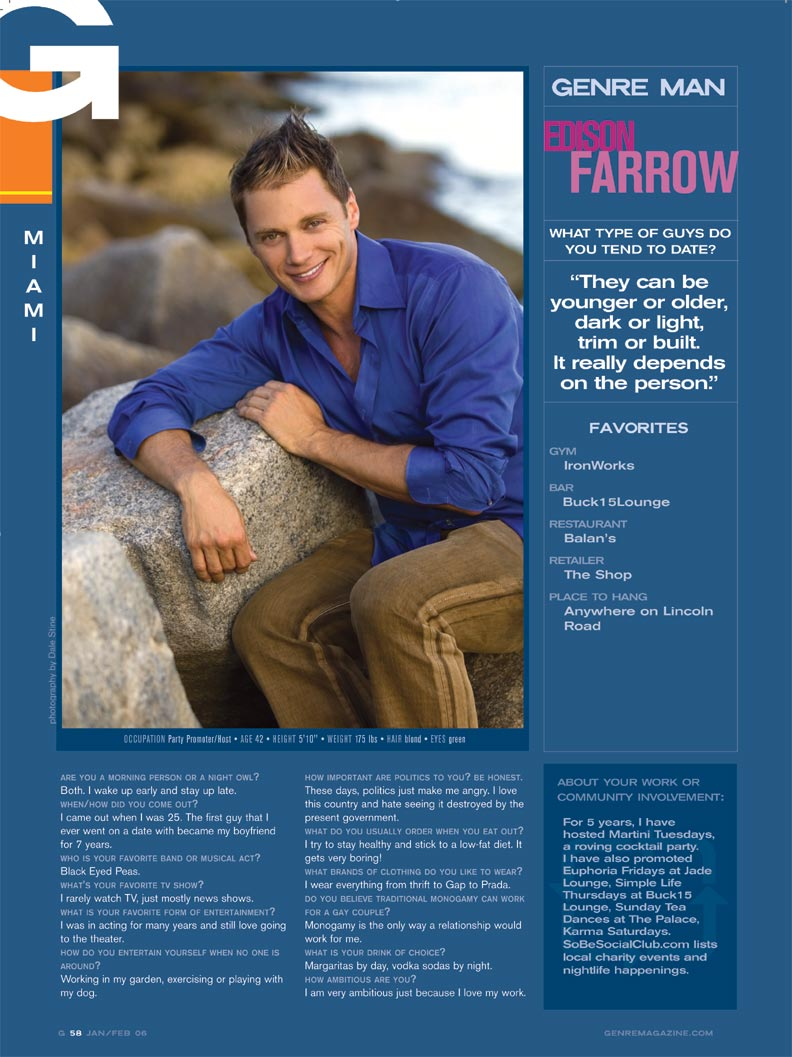 Edison Farrow in Genre Magazine. Edison Farrow in Genre Magazine